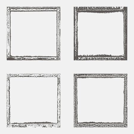 Set with four grunge border texture in black and white. Textured background, frame. Vector template.
