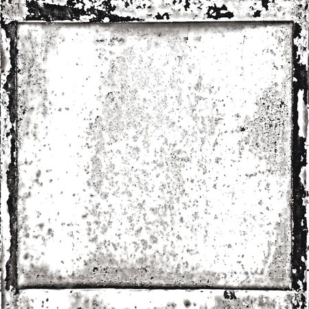 Grunge border texture in black and white. Textured background, frame. Vector template. Çizim