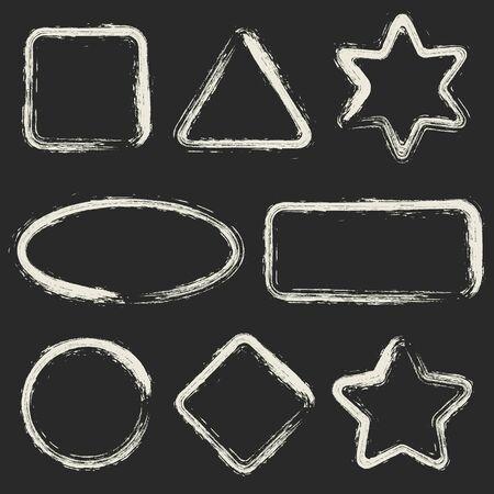 Set of white grunge frames isolated on black background. Vector Frames for your Design. Distress Border Frame Collection .
