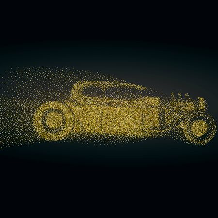 Hot rod background with a retro car. Roadster particles, symbolizing speed vector illustration.