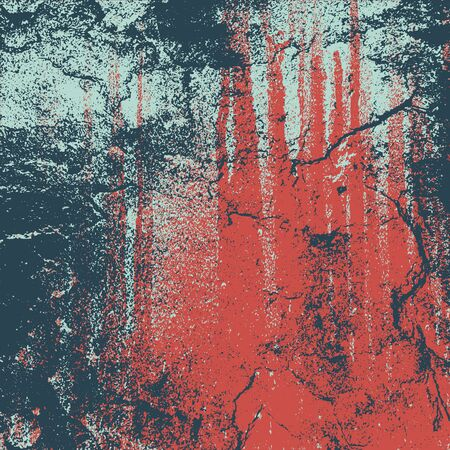 Grunge texture in blue and red colors. Textured cracked background. Vector template. Distress vector texture.