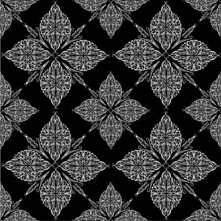 Aufwändiger nahtloser Damasthintergrund der Weinlese. Floraler Barockschmuck im viktorianischen Stil. Musterdesign, dekorativer Retro-Dekor, Vektorillustration Vektorgrafik