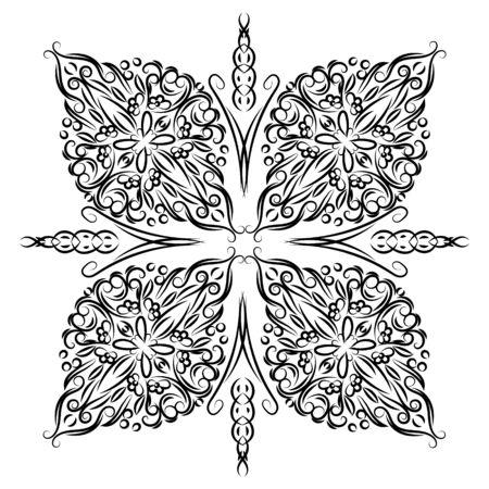 Decorative mandala. Vector illustration. Outline drawing. Ornate line art element. Ornamental floral pattern for wedding invitations, greeting cards.