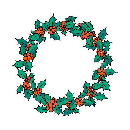 Corona de Navidad. Doodle rama de acebo con frutos rojos. Símbolo de vacaciones de invierno, decoración tradicional de año nuevo. Diseño de carteles, pancartas o tarjetas de invitación. Ilustración vectorial Ilustración de vector
