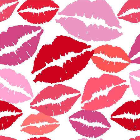 Seamless pattern with pink lips.