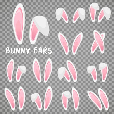 Easter bunny ears stickers collection. Set of masks Rabbit ear on transparent background. Vector illustration