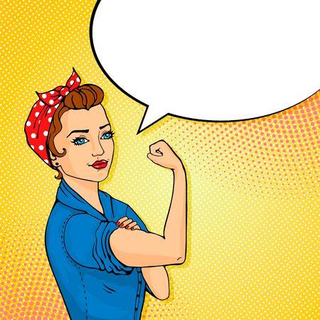 We Can Do It cartoon woman with speech buble Vektorové ilustrace