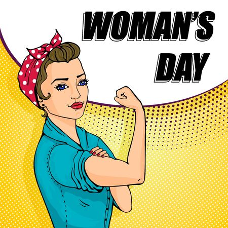 We Can Do It cartoon woman with speech buble