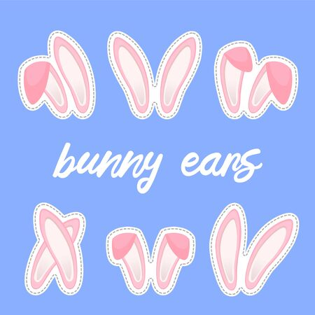 Easter bunny ears stickers collection. Set of masks Rabbit pink ear isolated on background. Vector illustration