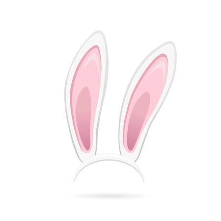 Easter bunny ears isolated on white background. Cartoon cute rabbit Headband for poster, banner or invitation cards. Vector illustration Vektoros illusztráció