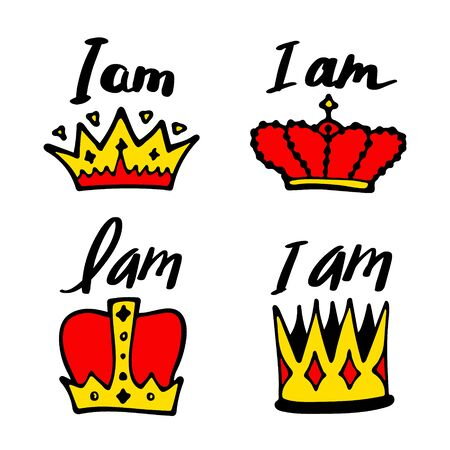 I am king print with crown - simple poster design. Cartoon lettering. Vector illustraton Illustration