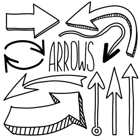 Doodle arrows icon set isolated on white. Grunge black Hand drawn arrow. Vector illustration Ilustracja