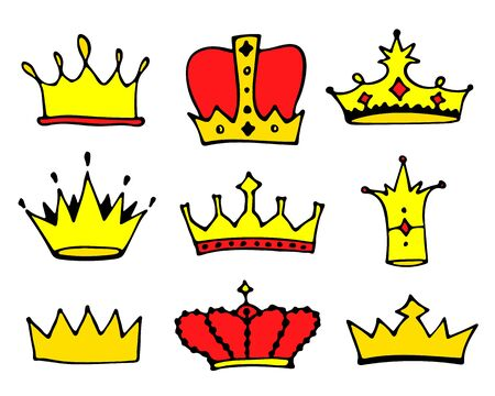 Sketch crowns collection. Doodle princess crown icons. Vector illustration. Illustration