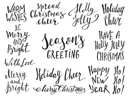 Merry Christmas Lettering Design. Greeting text. Vector illustration EPS10