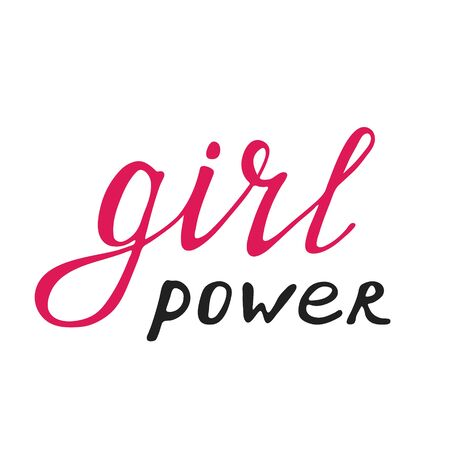 Girl power quote, hand drawn lettering. Womens rights slogan. Female, feminism symbols. Vector illustration. Can be used as print for poster, t shirt, postcard. Ilustração