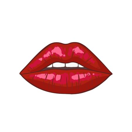 Sexy red lips icon isolated on white background. Beautiful womans an air kiss with glossy lipstick. Fashion vector illustration.