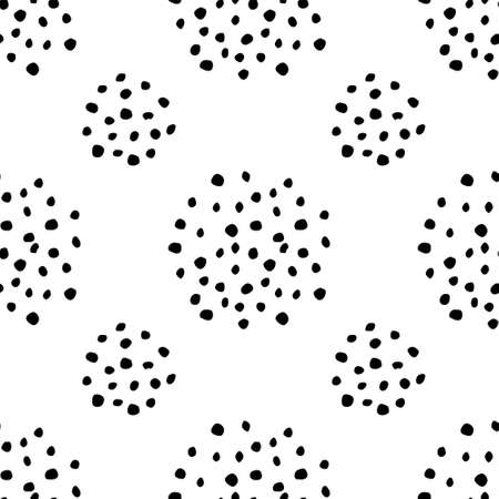 Doodle Dots Seamless Pattern. Black and white dotted background. Grungy painted ornament. Vector illustration. Wallpaper, furniture fabric, textile.