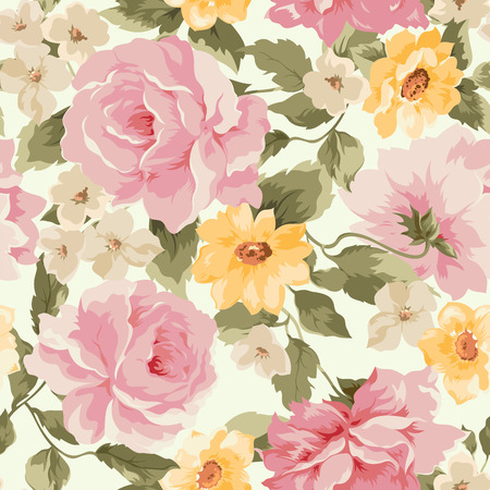 Beautiful Seamless peony pattern on clear background Vector