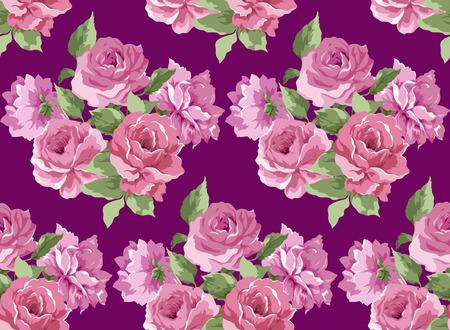 violet background: Bella peonia modello senza soluzione di continuit� su sfondo viola Vettoriali