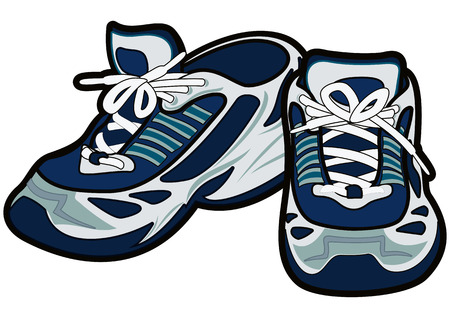 shoe strings: A pair of blue running shoes. Vector illustration.