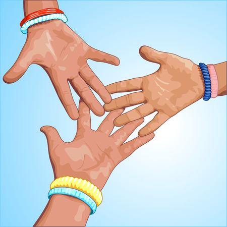 Three hands on a blue background. Vector illustration. Иллюстрация