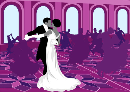 Ballroom dancing. Silhouettes of dancing in pink. Valse. Vector