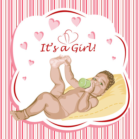 babygirl: European baby-girl lying on the pillow. Greeting card.