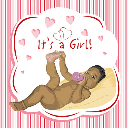 babygirl: African baby-girl lying on the pillow. Greeting card.