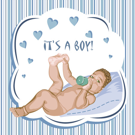 babyboy: European baby-boy lying on the pillow. Greeting card.