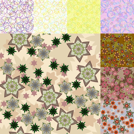 Ingesteld. Geometrisch patroon van sterren. Cirkels en vlekken.