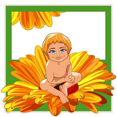 Lachende baby zitten in een bloem. Wenskaart. Stock Illustratie