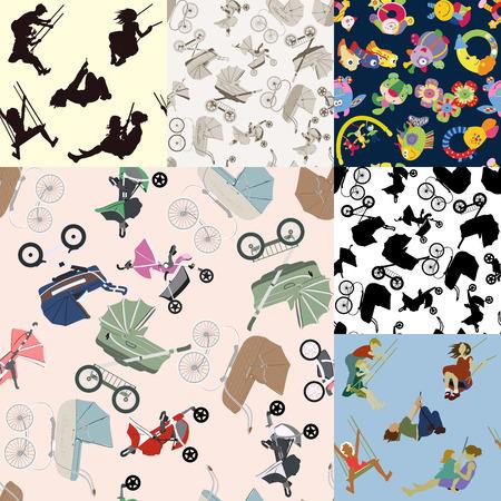 Kinderen rijden op de schommels. Een verscheidenheid van speelgoed voor kinderen. Buggy's web stijl patroon.