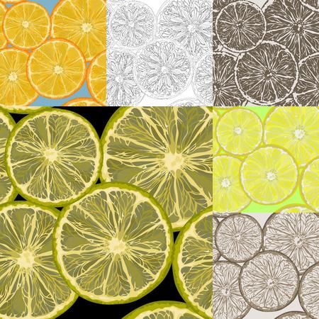 Set achtergronden met plakjes citroen en sinaasappel.