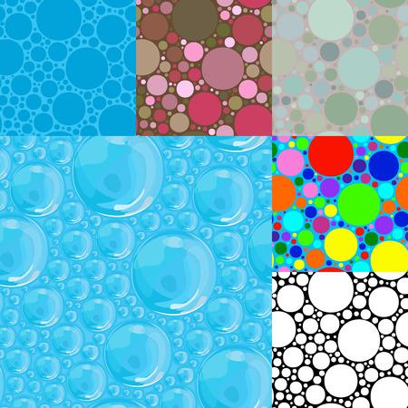 Set van naadloze achtergronden. Blauwe bellen. Kleurrijke cirkels. Stock Illustratie