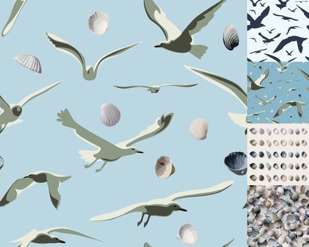Meeuwen en schelpen vector naadloze patroon - illustratie