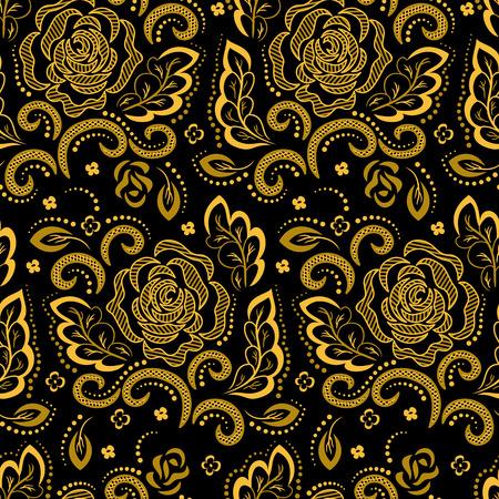 Gouden bloemmotief op een zwarte achtergrond. Vector. Stock Illustratie