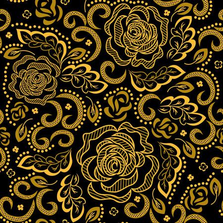 Gouden bloemenpatroon op een zwarte achtergrond. Vector.