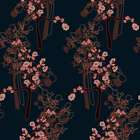 Bloeiende kersenboom. Sakura. Naadloze vector illustratie.