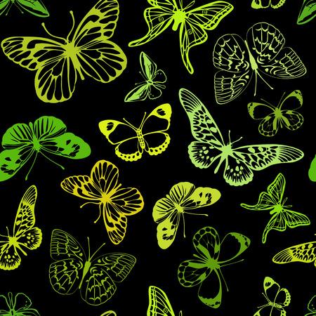 Groene en gele vlinders op een zwarte achtergrond.