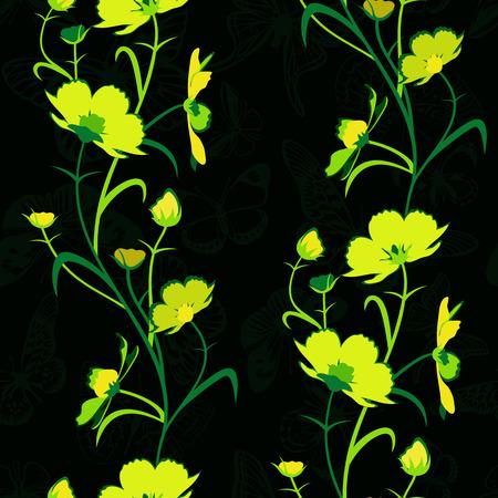 Geel-groene bloemen op een zwarte achtergrond. Stock Illustratie