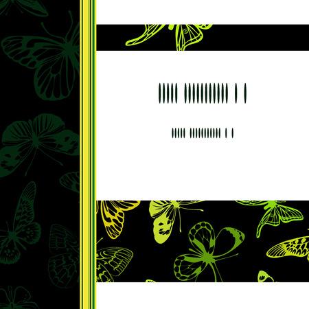 Groene en gele vlinders op een wenskaart. Stock Illustratie