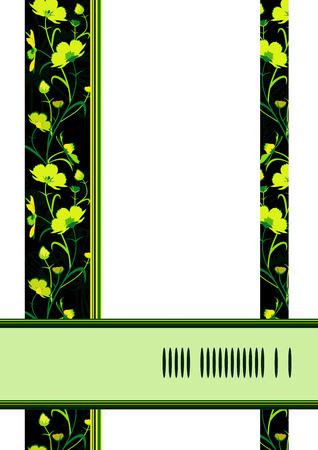 Geel-groene bloemen op een wenskaart. Vector illustratie. Stock Illustratie