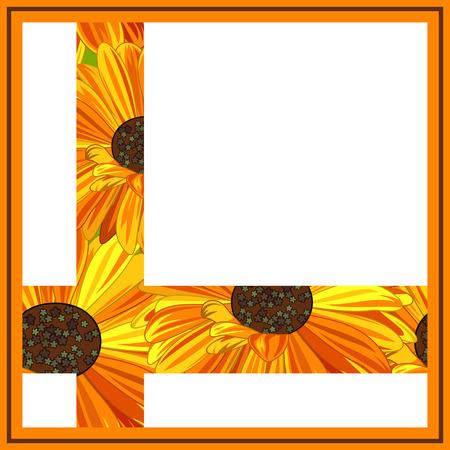 Geel en Oranje Daisy wenskaart.