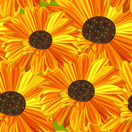 calendula: Yellow and Orange Daisy Seamless Background.