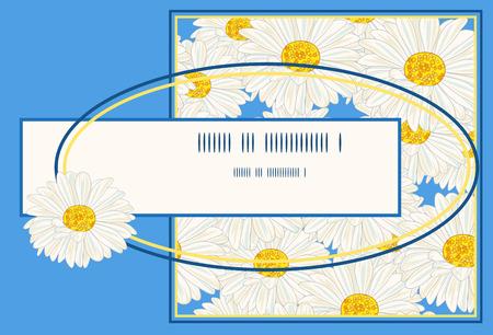 Witte margriet op een blauw frame. Stock Illustratie