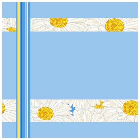 White daisy on a blue frame.  Vector
