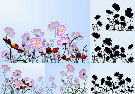 Set van de mooie zomer bloemen achtergronden. Vector illustratie.
