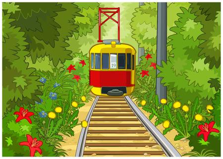 Rode en gele tram rijdt in het midden van het park.