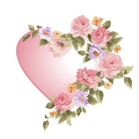 Hart in een frame van bloemen. Vector illustratie. Stock Illustratie