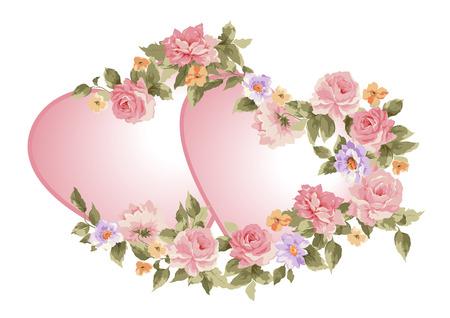 Paar harten in een kader van bloemen. Vector illustratie.